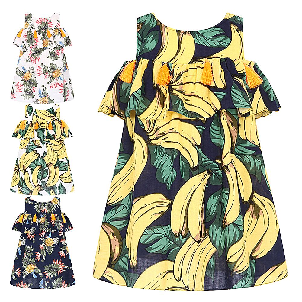 Princess Dress Moana Baby Girl Clothes Print Banana Pineapple Dress Kids Dresses for Girls Clothes Children Clothing 4 Colors ladybird appliques dress wholesale clothing for girls princess baby boutique o neck clothes children polka dot dresses 6pcs lot