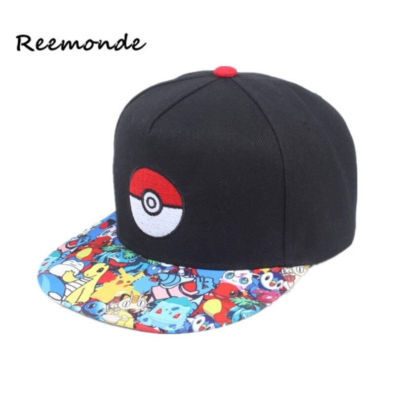 REEMONDE Cosplay Mobile Game Pokemon Go   Baseball     Cap   Hip Hop   Caps   Women Mans Anime Hat Flat Adjustable pokemon Ash Ketchum Hat