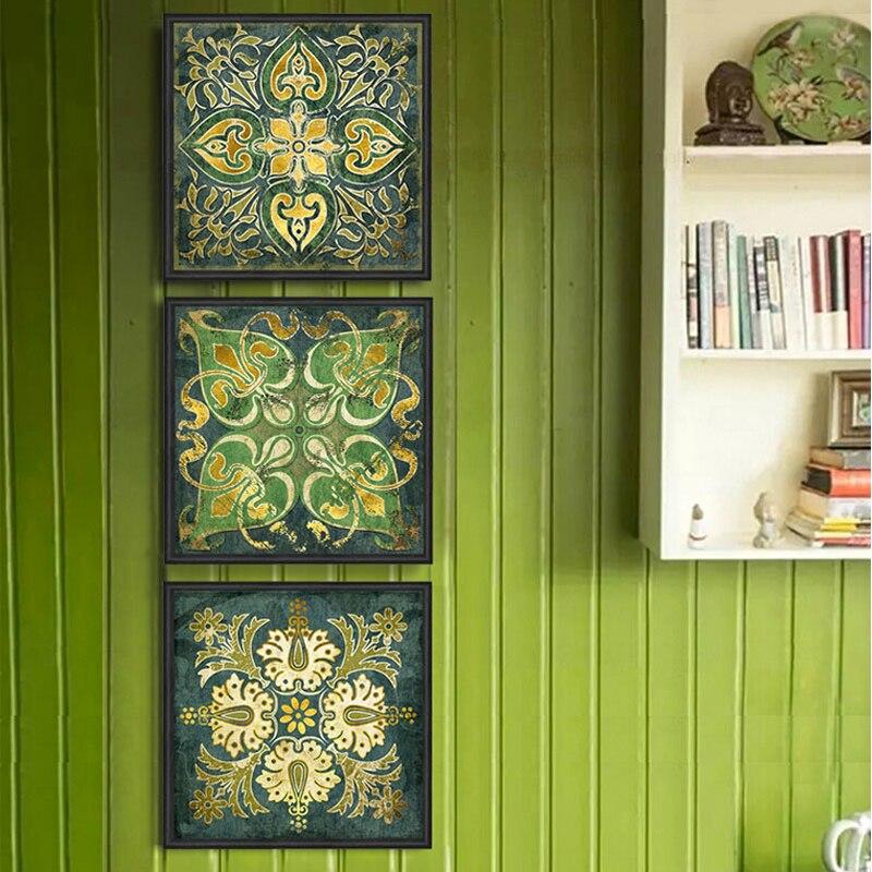 Smaragd Indische nationalen muster retro 3 stück leinwand wand kunst wohnkultur malerei für wohnzimmer poster und drucke schilderij