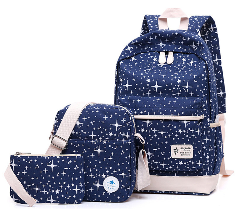 Zhierna 3pcs/sets Hot Vintage Canvas Women Bag School Pack Teenagers Printing Backpack Women's Shoulder Bag Pure Color Package