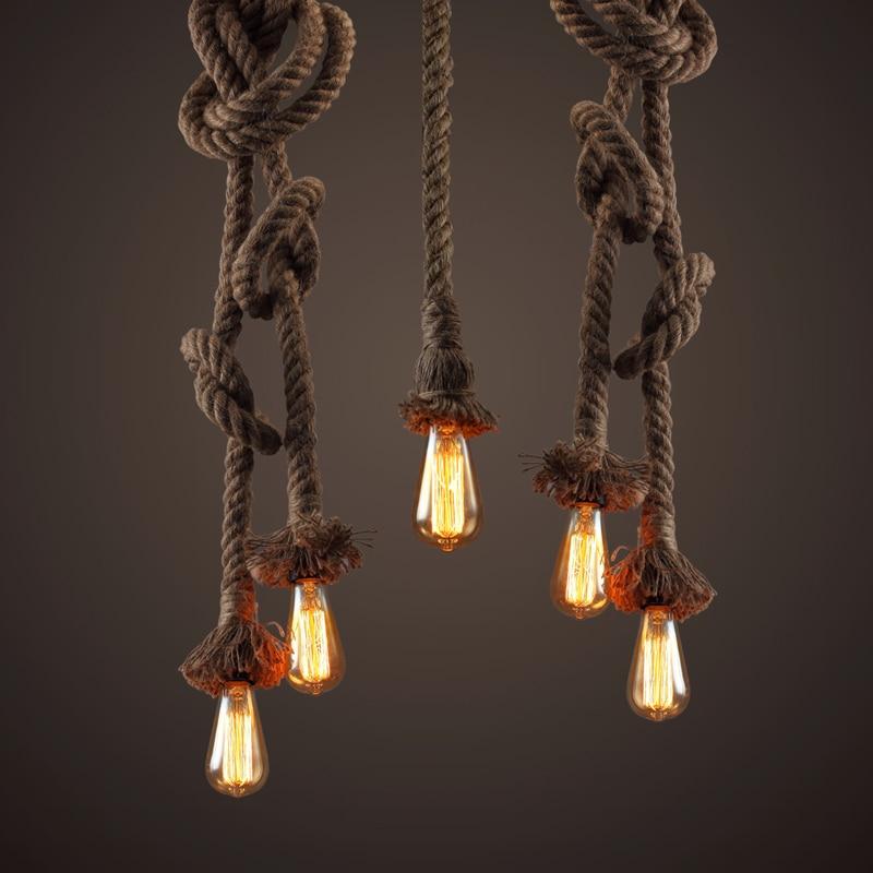 American country retro loft hemp chandelier living room stairs lamps