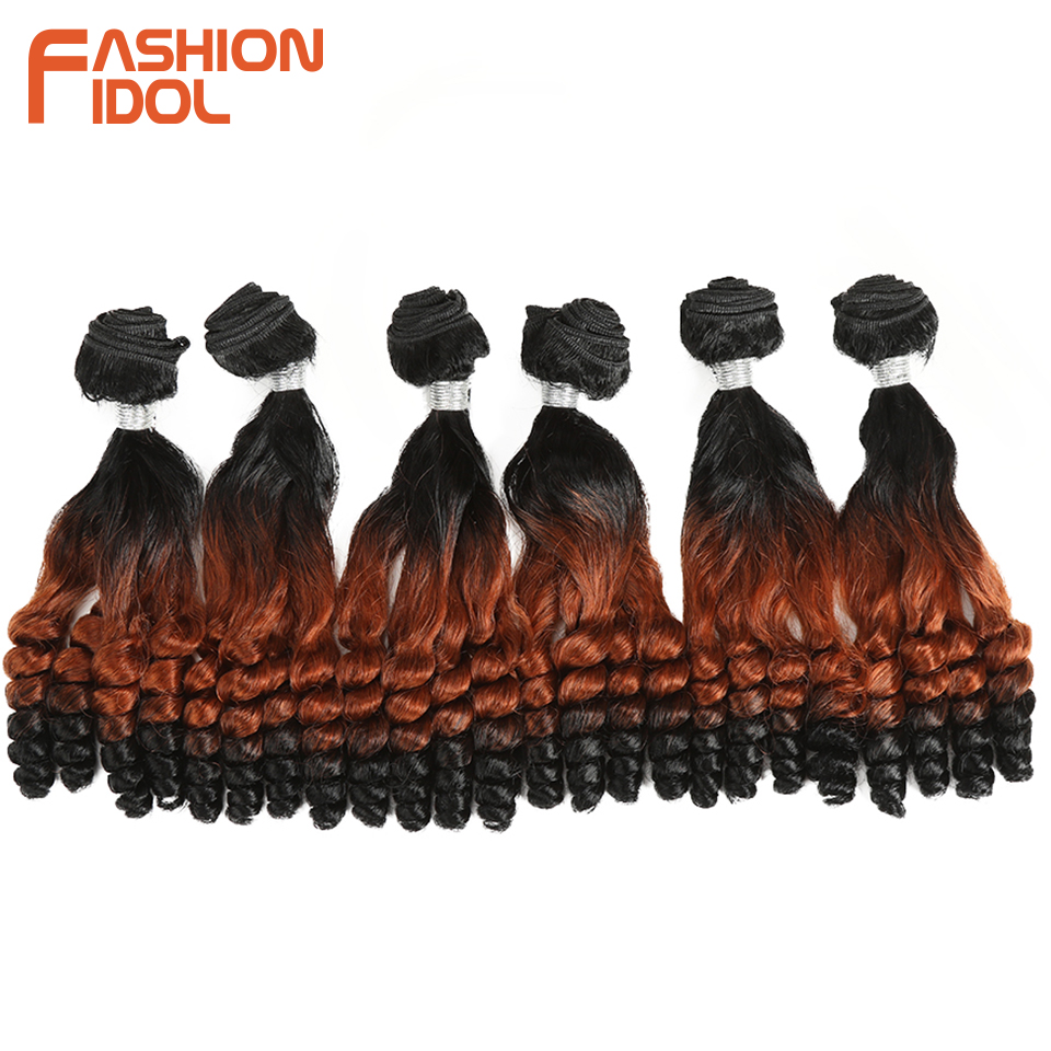 Image 4 - FASHION IDOL Afro Kinky Curly Hair Bundles 14inch 7Pieces/lot Upper Straight Lower Bend Synthetic Hair Lace Front With Closure-in Synthetic Weave from Hair Extensions & Wigs