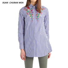 XUANCHURANWEN Ladies Long Sleeve Blouse Shirt Women Shirts Cotton Blue Striped Embroidery Shirt Slim Casaul Tops YZ8303