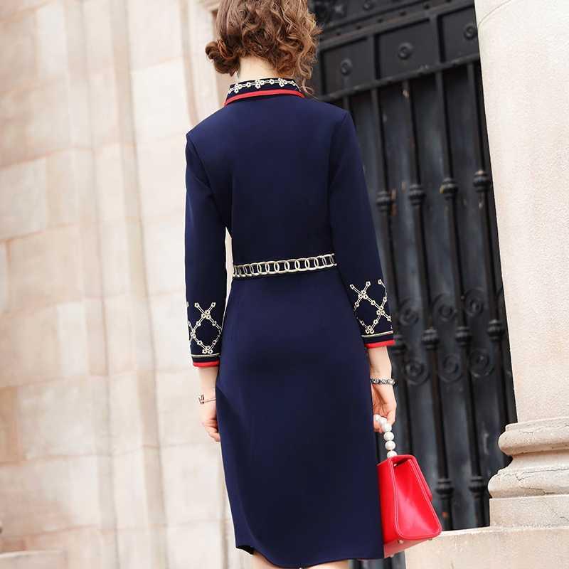 Новинка 2019 года, платье с вышивкой высокой уличной леди, Осеннее женское вечернее платье с длинным рукавом, большие размеры, винтажные однотонные деловые зимние платья