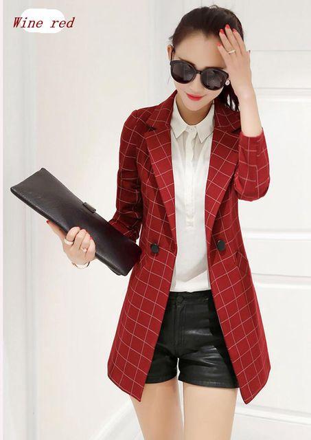 Nova Primavera/Outono Moda Mulheres Blazers Elegante Alta qualidade Grade Casaco de Médio longo de manga Comprida Fina Grandes estaleiros Pequeno terno NZ206