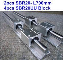 2pcs SBR20 L700mm linear guide + 4pcs SBR20UU block cnc router 2pcs sbr20 linear guides l1150 mm linear rails 4pcs sbr20uu linear blocks can be cut any length