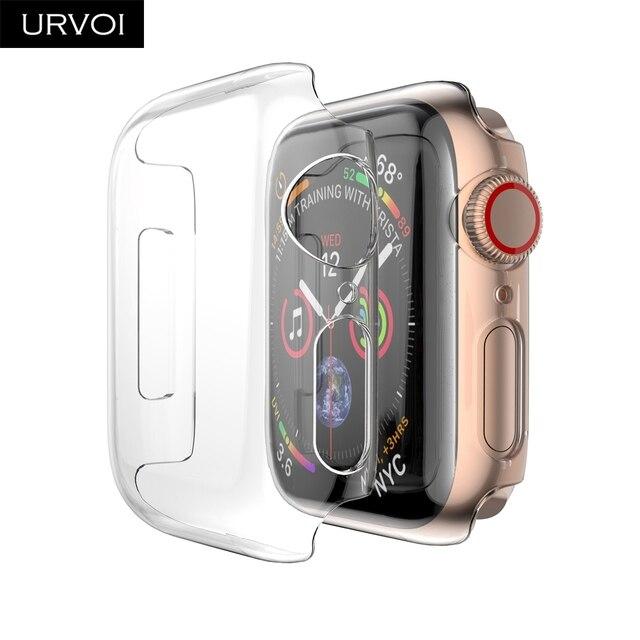 URVOI ультра тонкий полный чехол для Apple Watch series 4 3 2 1 пластиковая Рамка протектор экрана для iWatch slim fit cover band 40 44 мм