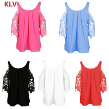 Women Blouse Sexy Lace Hollow Out Cold Shoulder Long Sleeve O Neck Shirt Tops все цены