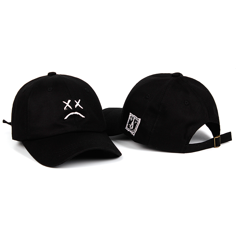 100% Cotton Lil Peep Sad face Dad Hat Embroidery Baseball Cap Hat xxxtentacion Hip Hop Cap Golf Love lil Women Men Universal hat bone para bordar