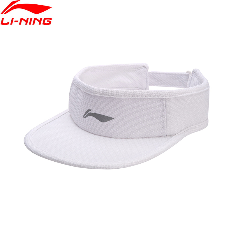 Li-Ning Men Women Empty Top Running Cap Black White Polyester Adjustable Caps LiNing Reflective Sports Baseball Hats AMXN004