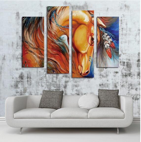 Peinture à l'huile, peinture sans cadre, quatre pièces d'animal, l'oeil du cheval, peinture informatique - 2