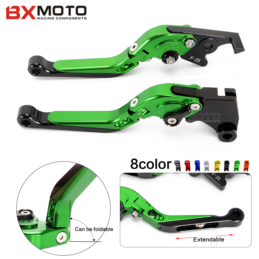 Green Motorcycle CNC Aluminum Brake Clutch Levers For Kawasaki Ninja 300 R 300R Ninja 250 R 250R Motorbike brake sets for kawasaki ninja 250 ninja250 2008 2015 ninja 300 ninja300 2013 2015 motorcycle aluminum short brake clutch levers black