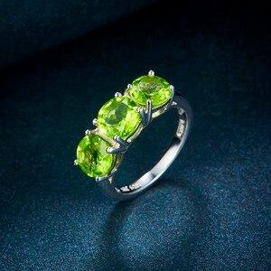 Image 5 - Anel huang de casamento feminino, 4.2ct natural peridot 925 prata de lei anéis verdes pedra preciosa elegante clássico joia para presente