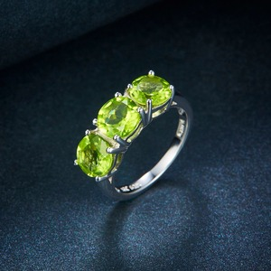 Image 5 - Hutang Wedding Womens Ring 4.2Ct Natural Peridot 925 Sterling Silver Rings Green Gemstone Fine Elegant Classic Jewelry for Gift
