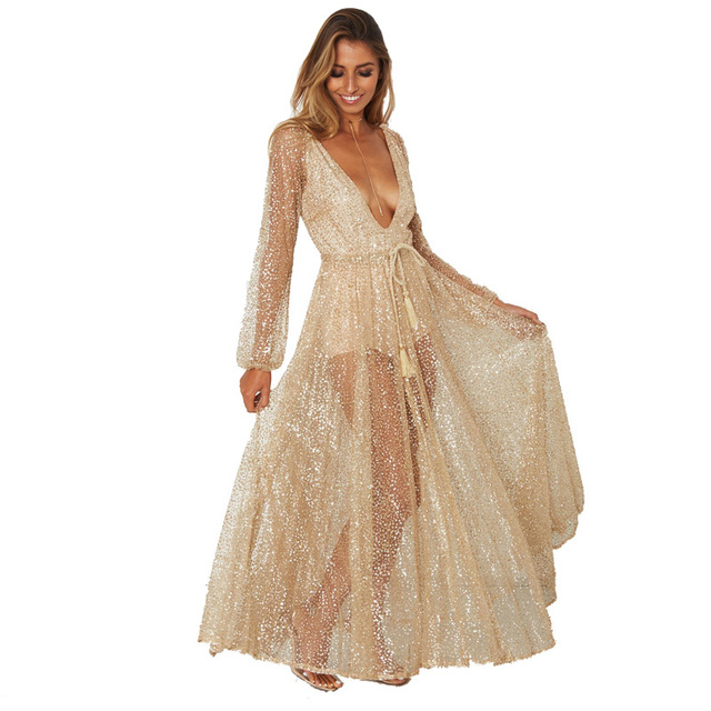 879a3cf0077 2019 Mesh Sexy Dress Vacation Hot Fashion Hollow Out Robe Sexy Femme  Transparent Boho Depp V-Neck Women Long Sleeve Dress S-XL