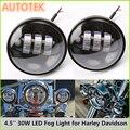 "2x 4.5Inch 30W Auto Driving Fog Lamp Lights For Harley Davidson Motorcycle 4-1/2"" Harley Motorcycle Fog Light IP68 Waterproof"