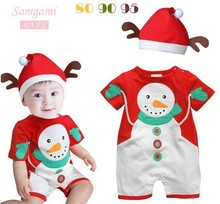 Free shipping,Christmas clothes,Girls Romper,Baby Romper,Boys Romper,Baby coveralls,Christmas wear,Romper + hat,Wholesale,002B
