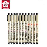 Sakura 9 pçs/set Gráfico Mícron Caneta Desenho Agulha Caneta Lote 005 01 02 03 04 05 08 Brush Pen Marcadores Da Arte
