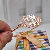Rose Gold Monogram Bracelet Bangle Personalized 3 Initial Thin Bangle Custom Nameplate Women Jewelry