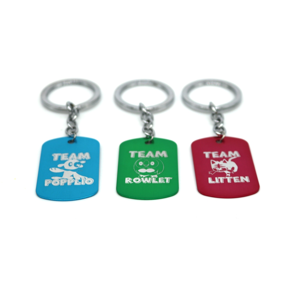 New Game Sun and Moon Starter Keychains Team Litten Rowlet Poppolio Dog Tag Pendant Fashion Jewelry for Unisex Fans