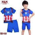 Мальчики capitain америка одежда ребенка косплей pijamas дети весна лето пижама дети с коротким рукавом пижамы MB-040