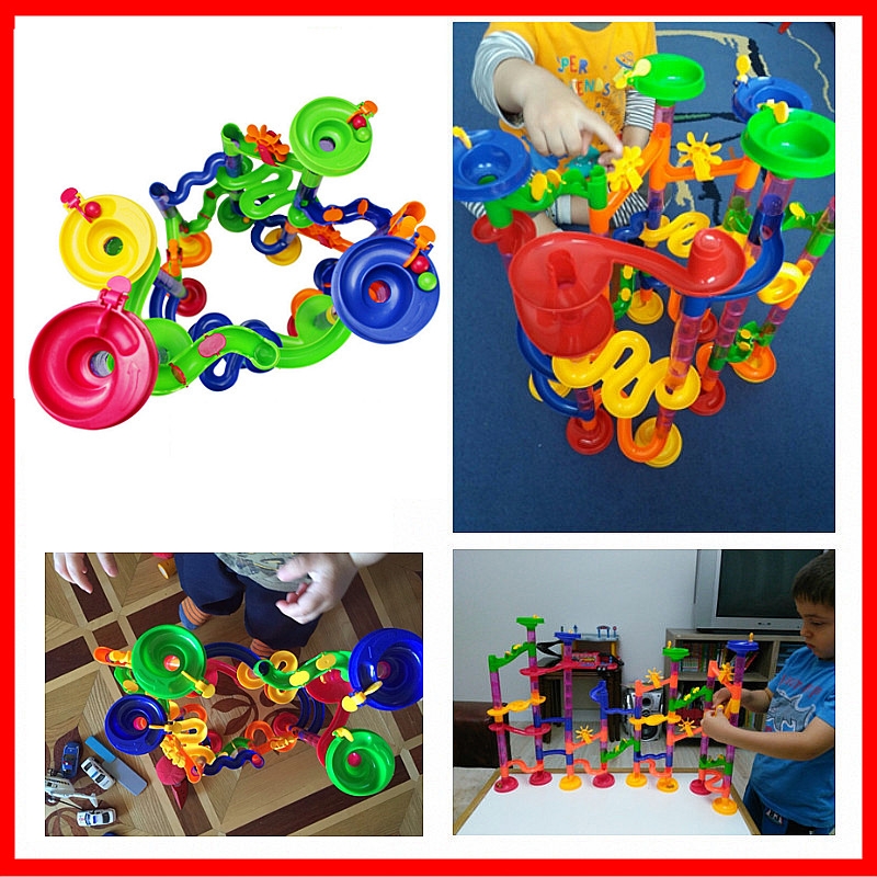 6 Colors DIY Construction Marble Race Run Maze Balls Pipeline Type Track Building Blocks Baby Educational Block Toy For Children enlighten 678 7 105pcs marble race run maze balls building block construction figure toys gift for children compatible legoe