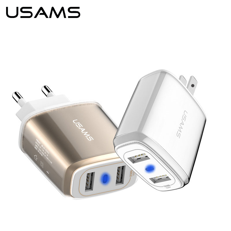 dual iphone charger usams phone usb charger adapter dual usb total 3 4a phone 10521