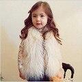 Chaleco de piel sintética para las niñas ropa de invierno otoño Niños de La Muchacha Chalecos Chalecos Niños Ropa de Abrigo Abrigos
