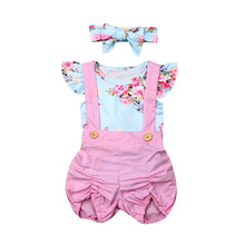 Lovely Girls Baby Kids Toddler Floral Romper Overalls 3Pcs Set Cute Outfits New