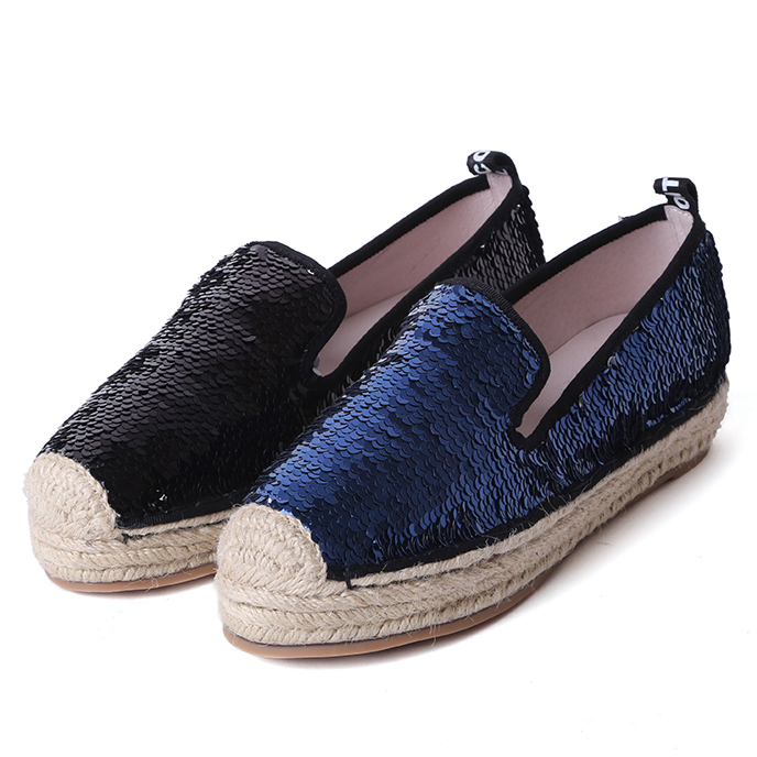 ФОТО 2017 New Designer fisherman shoes women round toe flat loafers spring summer straw shoes black blue glitter fashion brand shoes