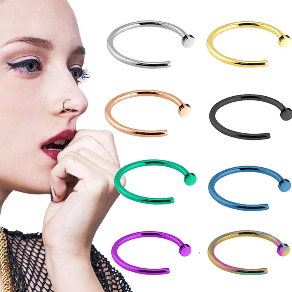 BOG2Pcs C Clip Kylie lip Piercing Ring Fake Nose Ring Labret Neus Piercing Hoop 8 Color Nose Stud Piercing jewelry Drop Shipping