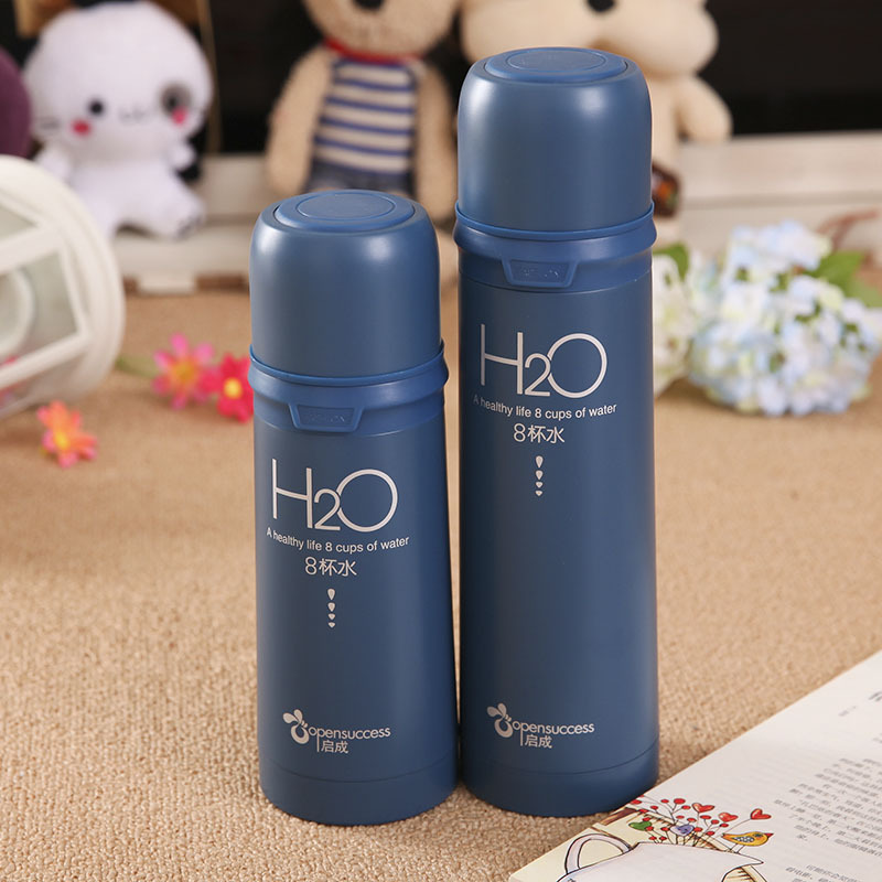 Hot Thermos Cup 350ML Lovers Creative H2O Thermo Mug Stainless Steel Vacuum flask Thermal Covered Bottle Travel Cups Mugs termos