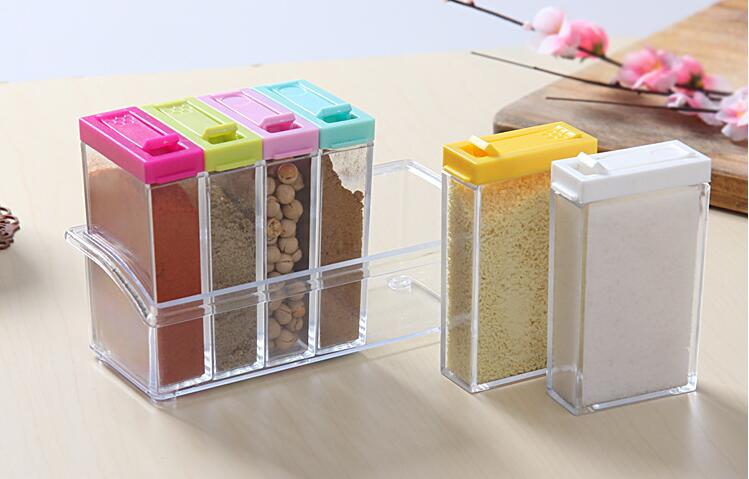6pcs set kitchen tools spice jar colorful lid seasoning for Kitchen tool set of 6pcs sj