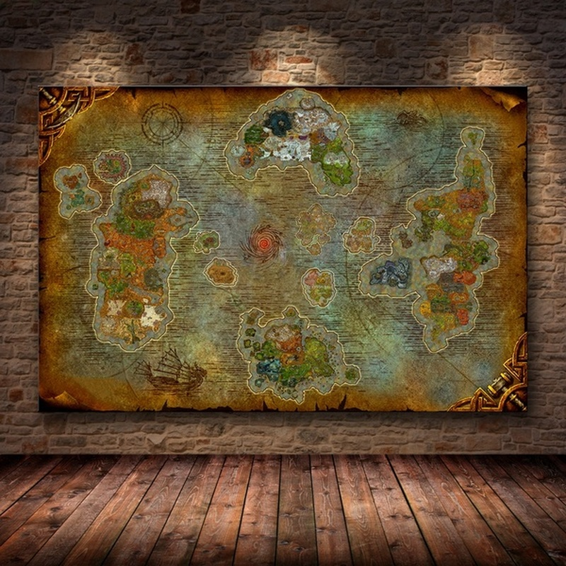 Unframed Die Poster Dekoration Malerei von Welt von Warcraft 8,0 Karte auf HD Leinwand Wand Bilder für Wohnzimmer öl malerei