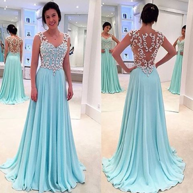 New Design Lace Appliques Bodice V Neck Cap Sleeves Mint Blue Formal ...