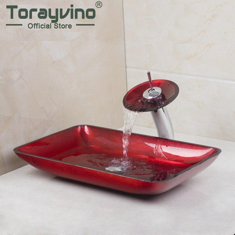Новый Красный Прямоугольный умывальник с ручной краской, раковина из закаленного стекла с латунным краном, набор раковины для ванной комна