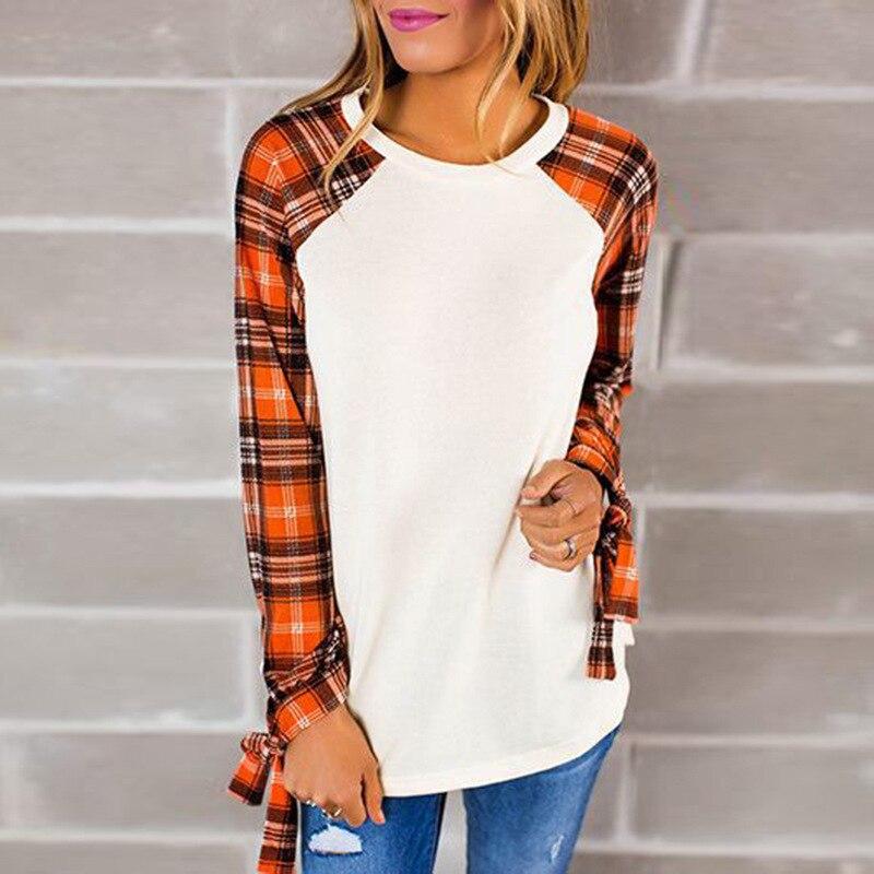 Women New Fashions Sitching Plaid Print Slim T-Shirt O-neck Female Knitted Tops Long Sleeves Girls Winter Casual Harajuku Cloth
