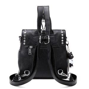 Image 2 - SUDS Brand Women PU Leather Backpack New Fashion Student Rivet School Bags Shoulder Bag Female Traveling Backpack Mochilas Mujer
