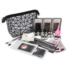 19 in1 False Eyelash Kit Semi Permanent Individual Extension Curler Lashes  Curl C 8/10/12mm Eye Stickers Pads Set