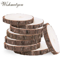 WISHMETYOU 5Pcs Wood Log Slices Discs Decor Birthday Wedding Party Craft Supplies Diy Painting Gift Tags Unfinished Natural