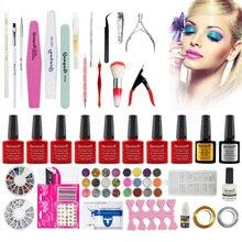 GRACEFUL Acrylic Nail Art Tips Powder Liquid Brush Glitter Clipper Primer File Set Kit soak off gel glitter Nial polish NOV2