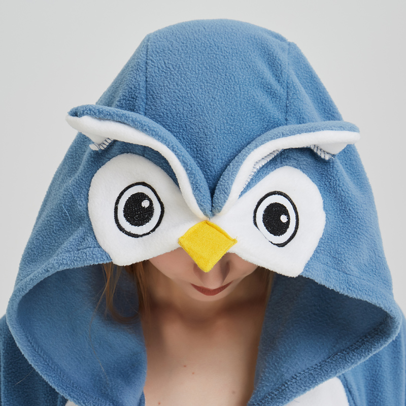 Polar Fleece Blue Owl Onesies For Women Pajamas Kigurumi Batwing Sleeve Long Sleepwear For Halloween Cosplay Parties For Adult (1)
