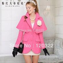 dabuwawa Original Brand New Fashion 2016 Autumn and Winter Slim Casual Thick Wool Coat Women Cloak Outerwear Pink Doll