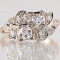 Кольцо Для Женщин Стерлингового Серебра 925 Обручальное Кольцо 0.7CT Круглый Cut Белый Топаз Пластины Два Тона Золота обручальные кольца Драгоценный Камень bague