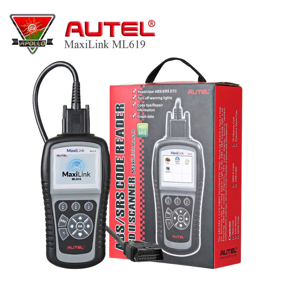Autel MaxiLink ML619 OBD2 Code Reader Auto Car Scanner for ABS/SRS System CAN OBDII Diagnostic Tool Better than Autel AL619