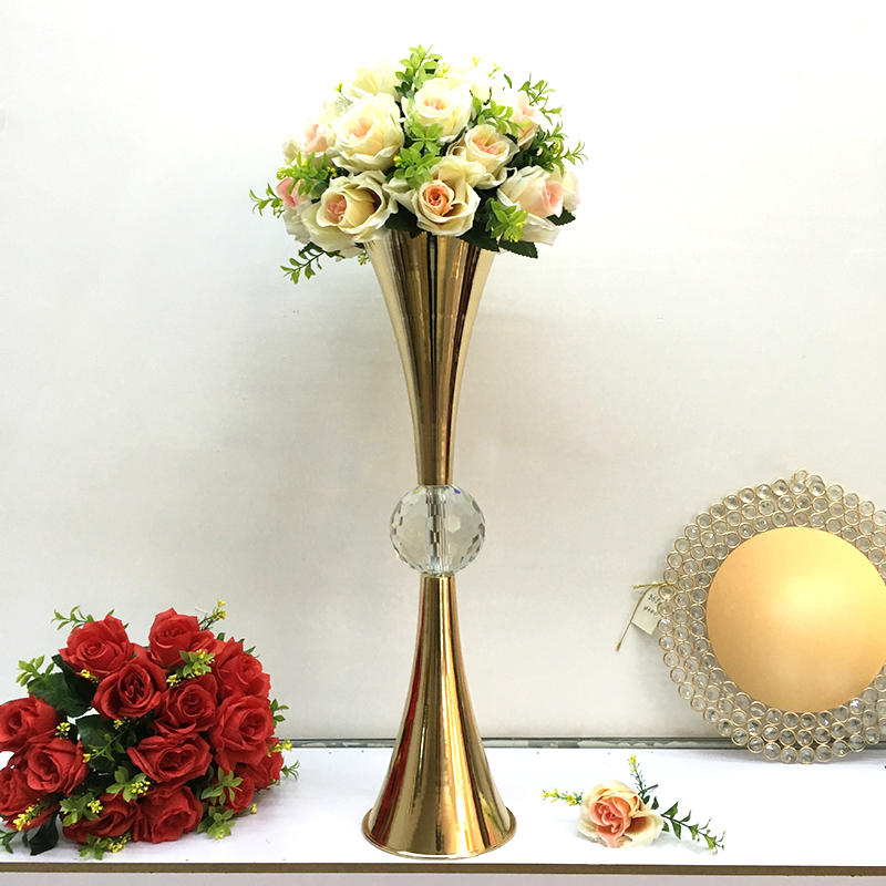 PEANDIM Gold Flower Vase With Big Crystal Ball Wedding Flower Vase Holders Table Centerpieces Candlesticks For Party Home Decor in Candle Holders from Home Garden