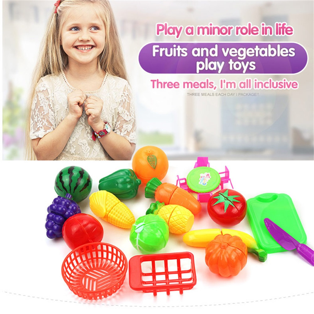 17pcs/lot Play House Toys for Children 2018 Newest Cutting Fruit Plastic Vegetables Food Kitchen Baby Classic Kids Toys