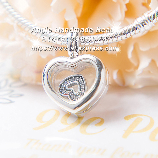 2017 Fashion S925 Silver Floating Heart Locket Crystal Glass & Clear CZ Penda Charm Fit Bracelets Necklace Jewelry Making PD217
