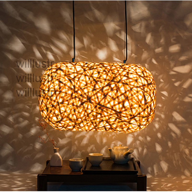 willlustr modern bamboo pendant lamp cocoon hanging light hotel restaurant lounge wood suspension light handmade lighting new arrival modern chinese style bamboo wool lamps rustic bamboo pendant light 3015 free shipping