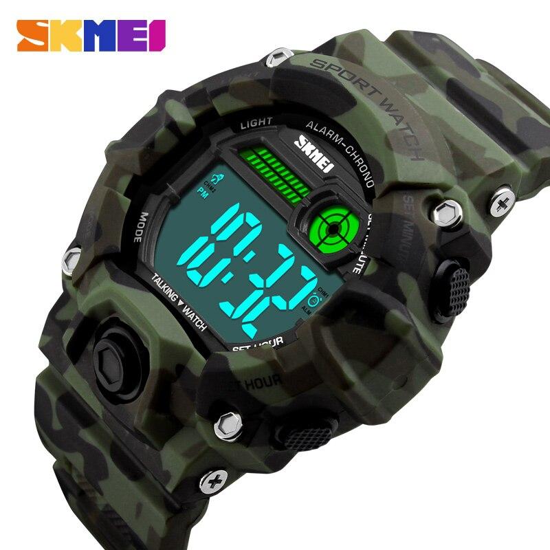 SKMEI S Shock Men Sport Watch Talking Music Alarm Clock LED Digital Watches Outdoor Men Military